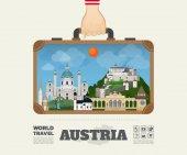 Ruční přenášení Rakousko mezník globální cestování a cesta Infogra
