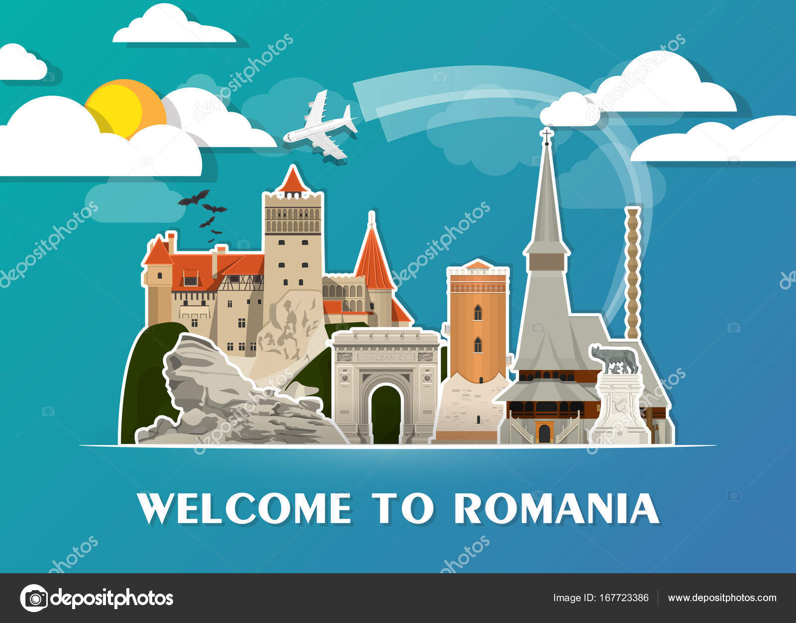 Romania Landmark Global Travel And Journey Paper Background Vector Design Templateused For Your Advertisement Book Banner Template Business Or