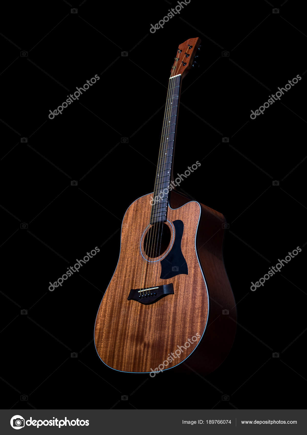 Acoustic Guitar On Black Background Stock Photo C Bjginny 189766074