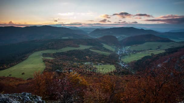 Slovakia forest autumn panorana landscape with mountain at sunrise, Time lapse