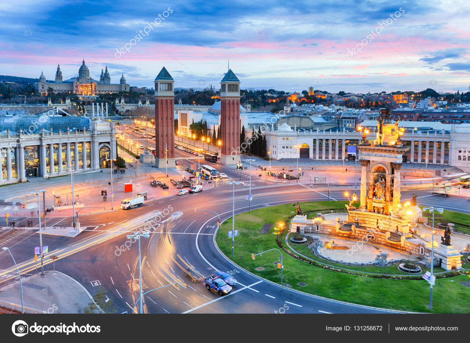 Dusk View Of Barcelona Spain Plaza De Espana Stock Photo