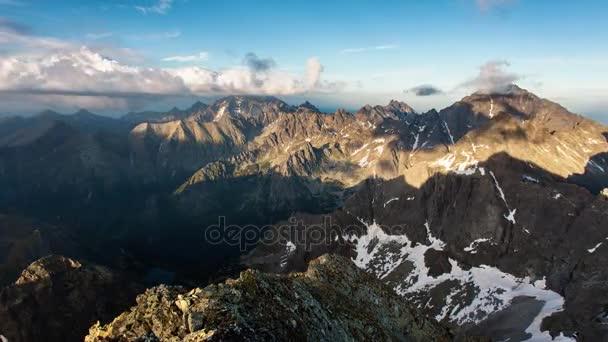 Tatra mountain časová prodleva 4k videa z vrcholu Rysy