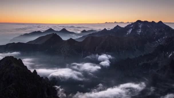 Horská krajina v Tatrách, vrchol Rysy, Slovensku a Polsku, časová prodleva