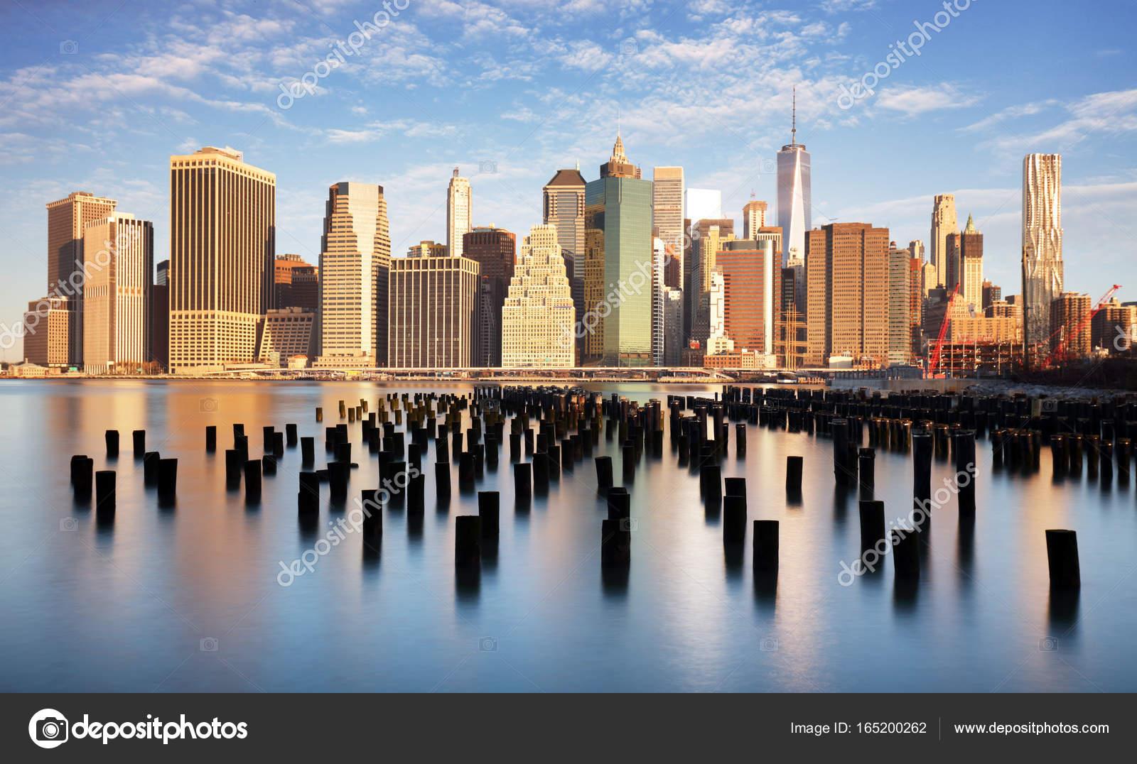 New York untere Manhattan Skyline Langzeitbelichtung — Stockfoto ...
