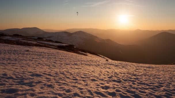 Zimní horské časová prodleva při západu slunce, Nízké Tatry, Slovensko