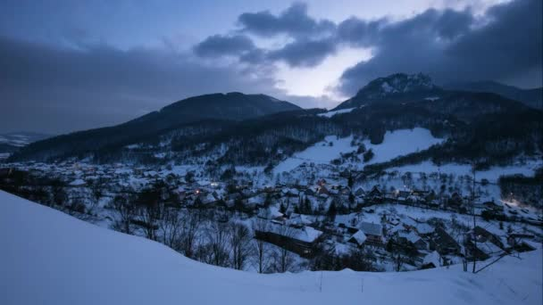 Night at Winter with beautiful village, Slovakia, Time lapse