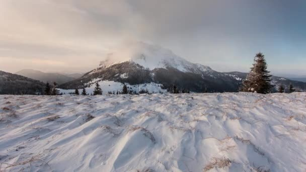 Časová prodleva zimní horské krajiny na Slovensku