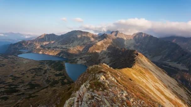 Panorama horské krajiny v létě v Tatrách při západu slunce na Slovensku, Časová prodleva