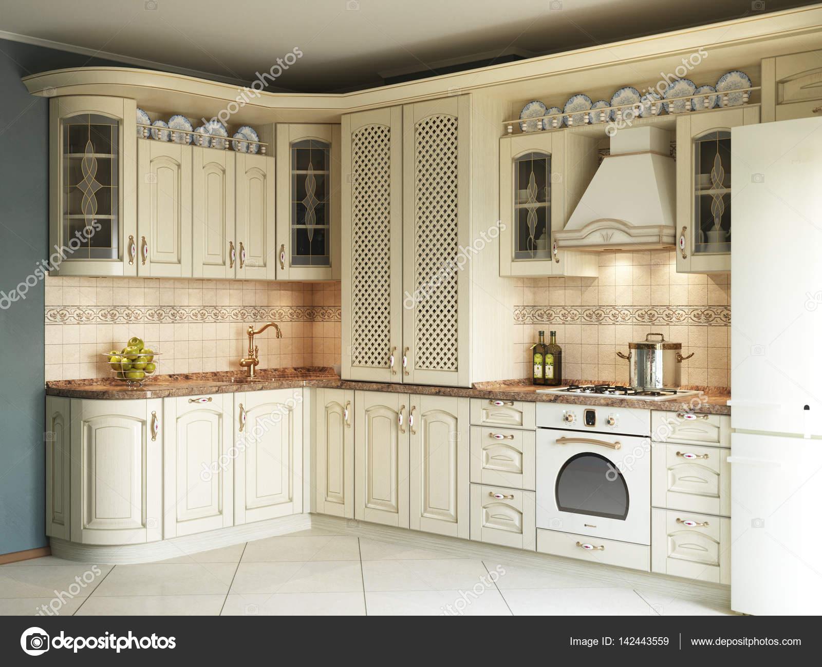 Illustrazione 3D di cucina bianca in stile classico — Foto Stock ...