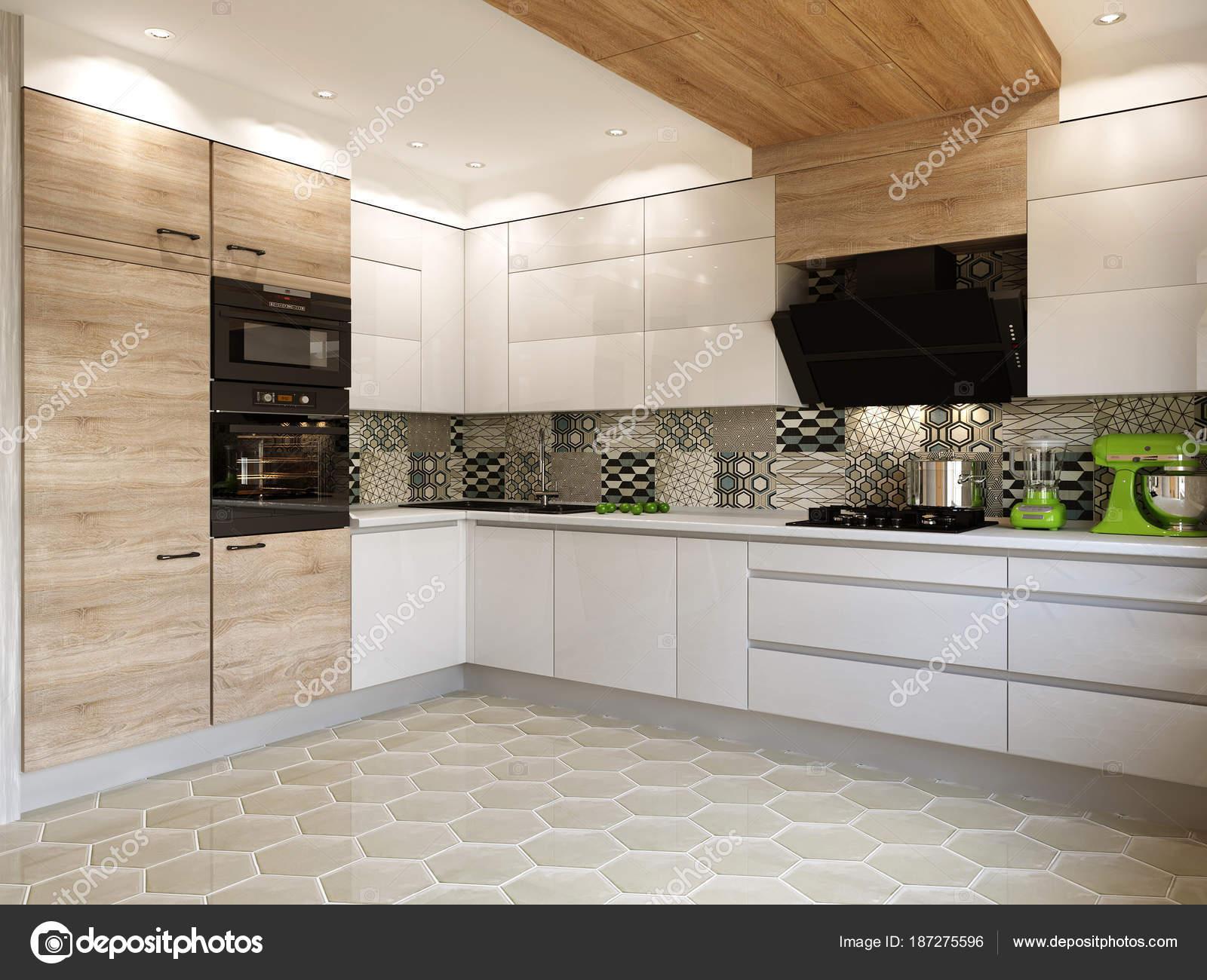 Witte keuken eigentijdse stijl beelden u stockfoto johnovich