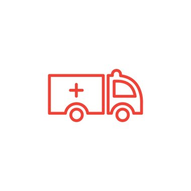 Ambulance Line Red Icon On White Background. Red Flat Style Vector Illustration