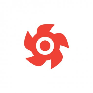 Turbine Red Icon On White Background. Red Flat Style Vector Illustration.