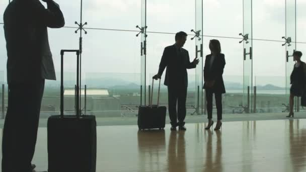 asian business travelers chatting at airport