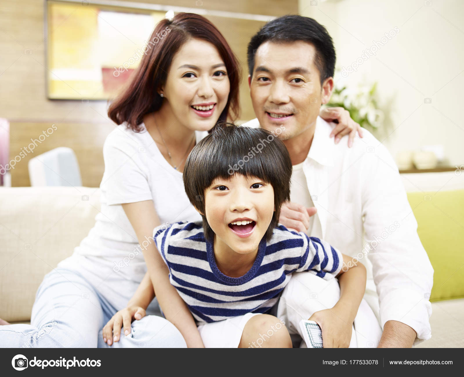 Portrait of asian mother father and son — Stock Photo