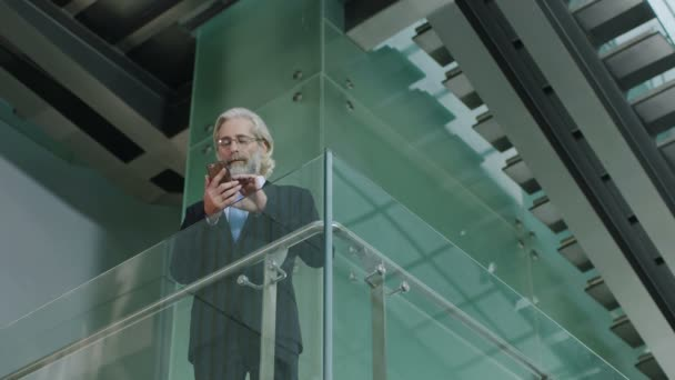 senior corporate executive standing on second floor of a modern glass and steel building making a call using mobile phone.