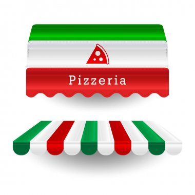 Pizzeria awnings. Italian food vector design elements in the colors of the italian flag