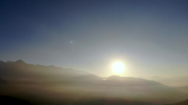 sunrise in mountains with Himalayan peaks in Everest region