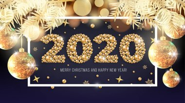 Happy New Year 2020 Christmas gold beads