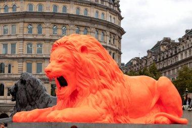 London, UK - September 20 2018: Art installation called Please feed the Lions by Es Devlin on display in Londons Trafalgar Square as part of London Design Week.