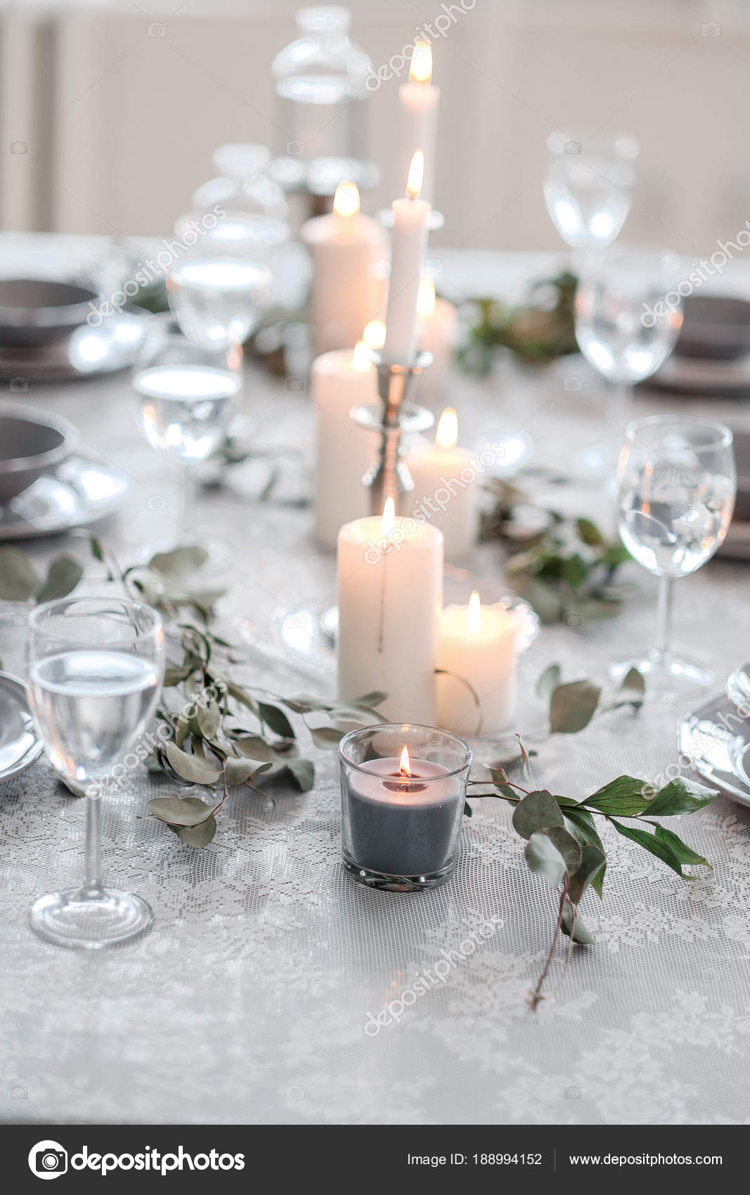 glasses table setting. Wedding Or Festive Table Setting. Plates, Wine Glasses, Candles And Cutlery \u2014 Stock Glasses Setting