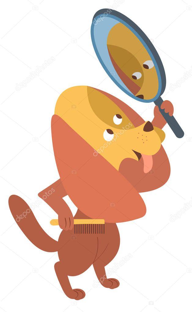 Cane del fumetto con un pettine e specchio isolato vettoriali stock sotosy 159957352 - Cane allo specchio ...