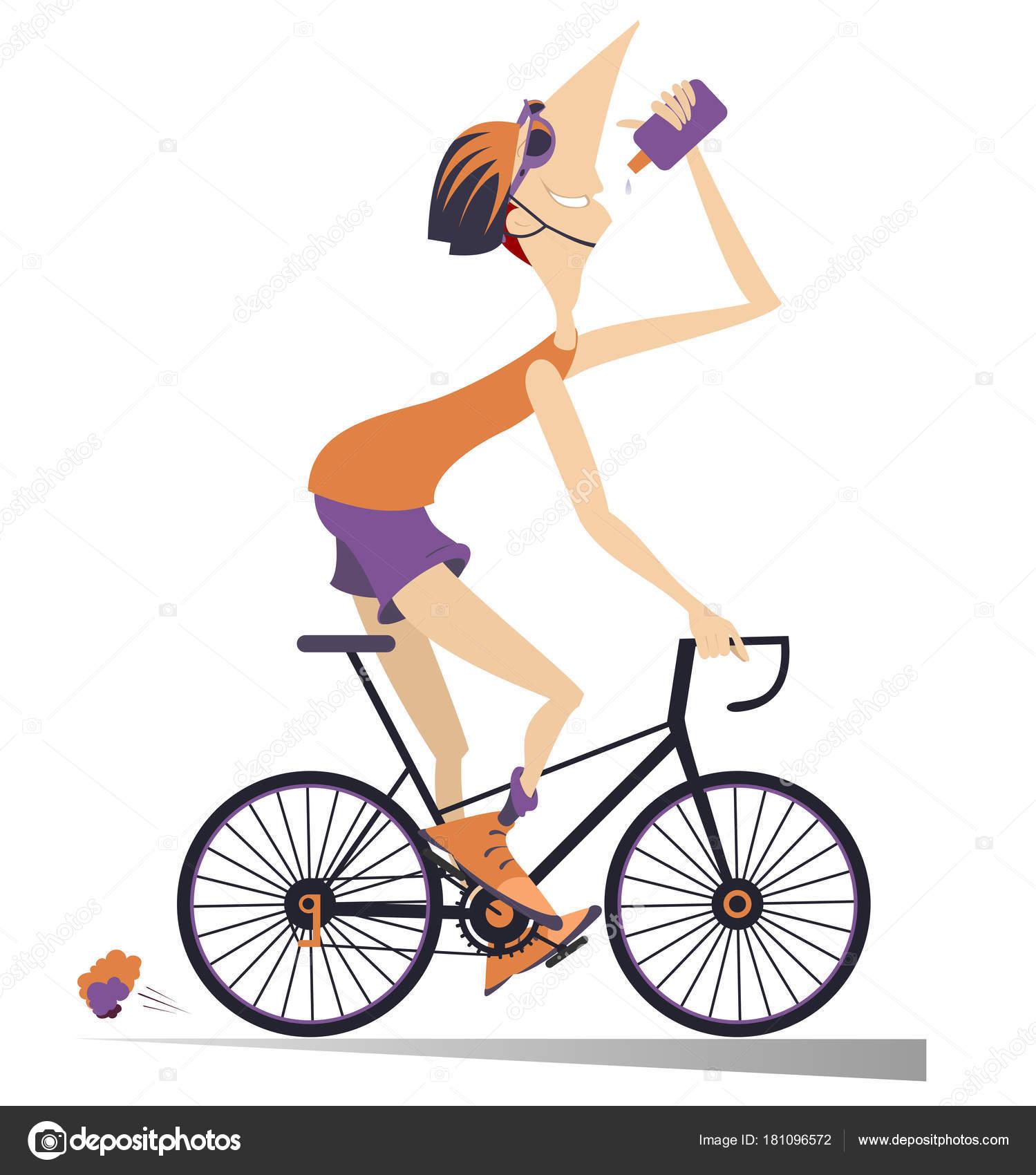 Cycliste monte v lo boissons eau illustration isol e homme - Dessin cycliste ...