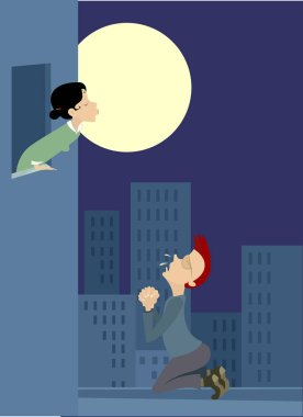 Love couple rendezvous under the moon illustration. Full moon, young woman and man stays on the kneel and prays for love under the window of the girlfriend illustration