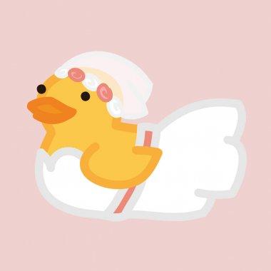 Funny yellow duck like bride