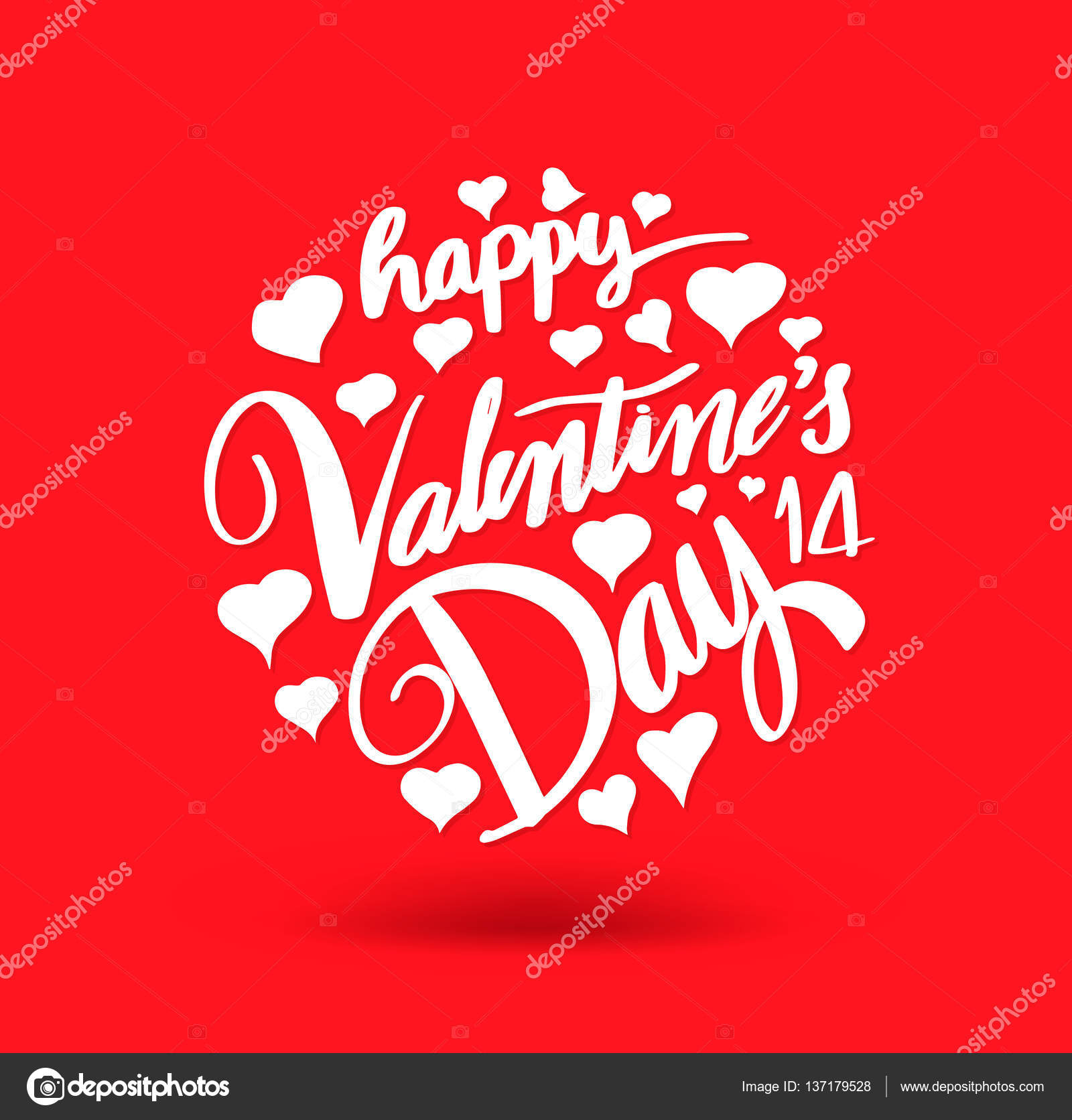 Happy Valentine S Day Lettering On Red Hearts Background Stock