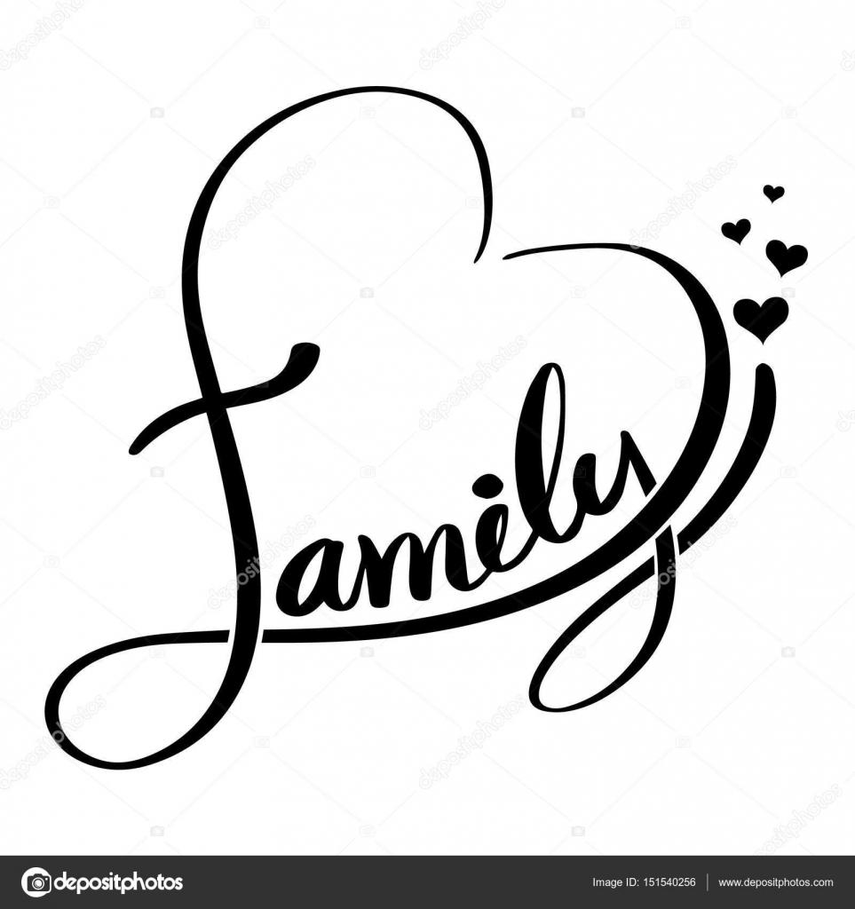 Familia De Letras En Forma De Corazón Ilustración De Vector