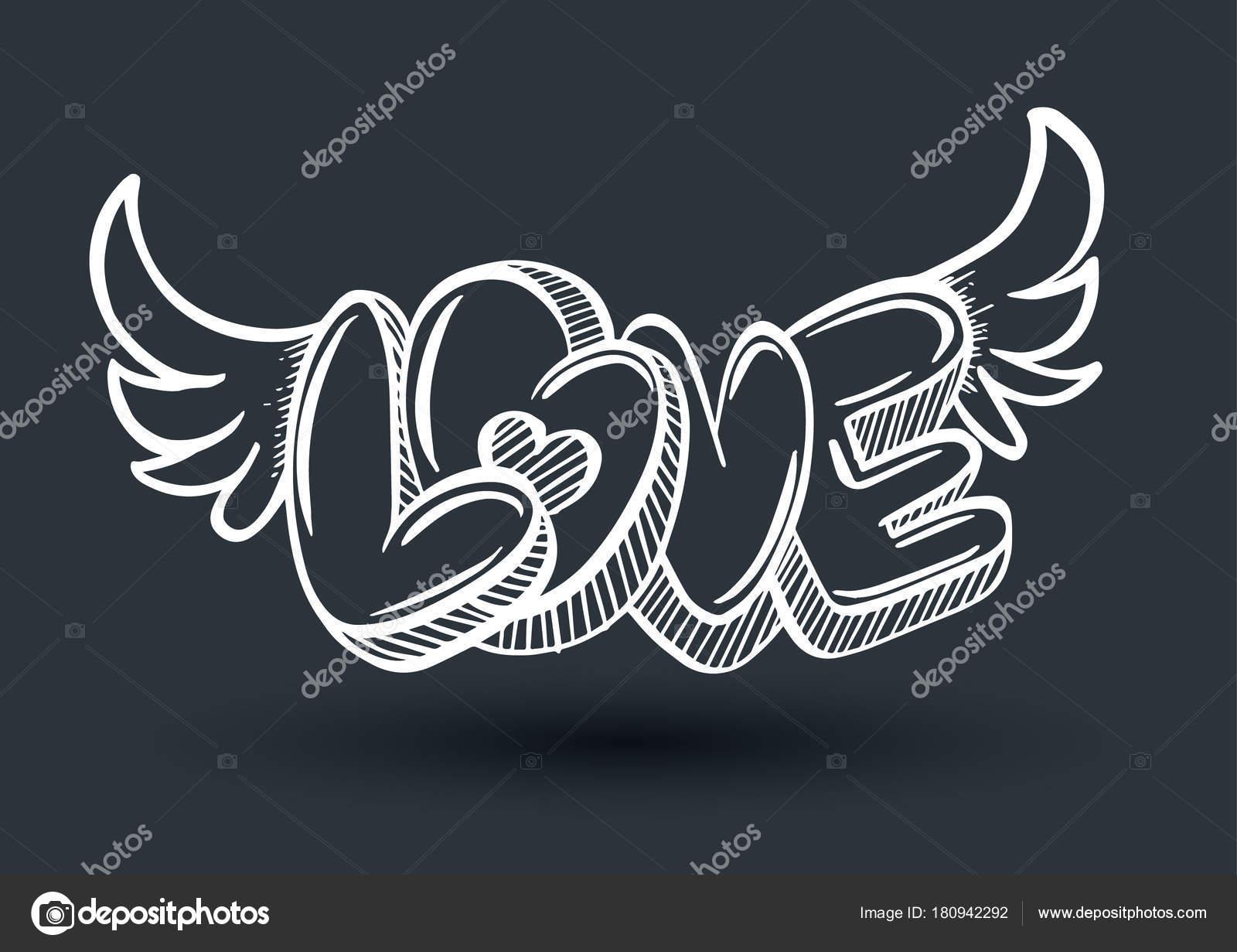 Dibujos Love En 3d Amo El Estilo De Dibujo 3d Vector De Stock