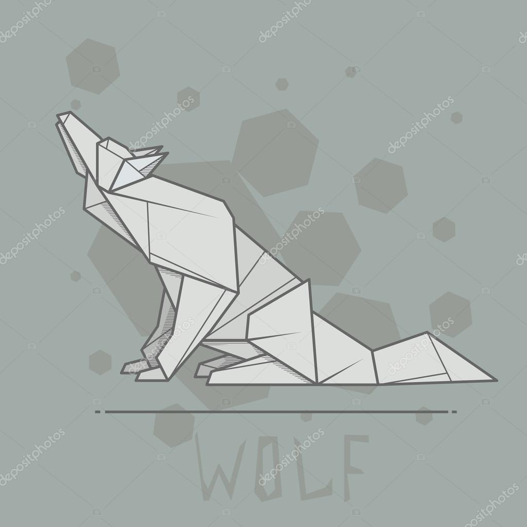 Vector Illustration Paper Origami Of Wolf Stock Vector Vertyr