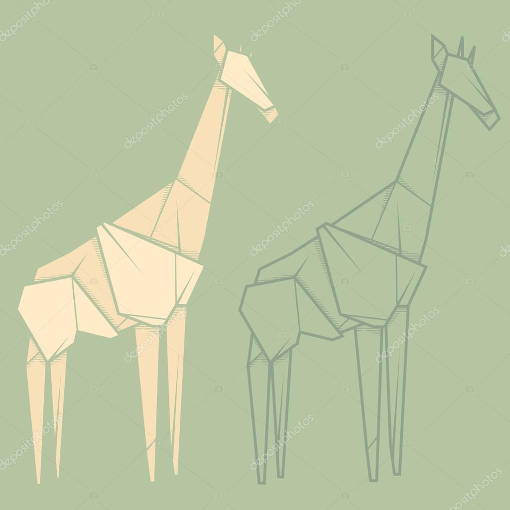 Set Illustration Paper Origami Of Giraffe Stock Vector