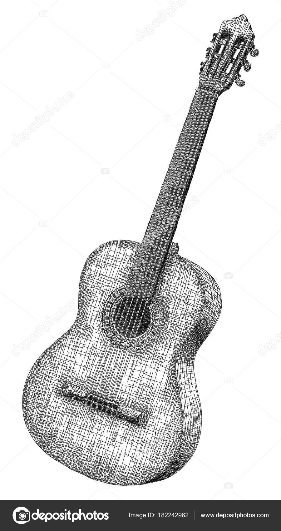 Vektorove Ilustrace Kresba Klasicka Kytara Stock Vektor C Vertyr