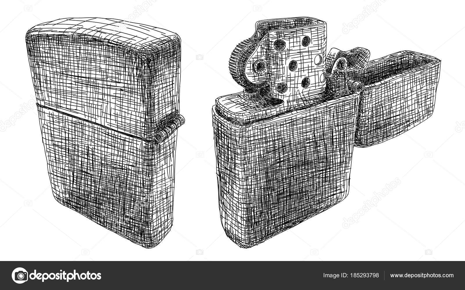 Line Drawing Vector Graphics : Vector illustration drawing of petrol lighter. u2014 stock