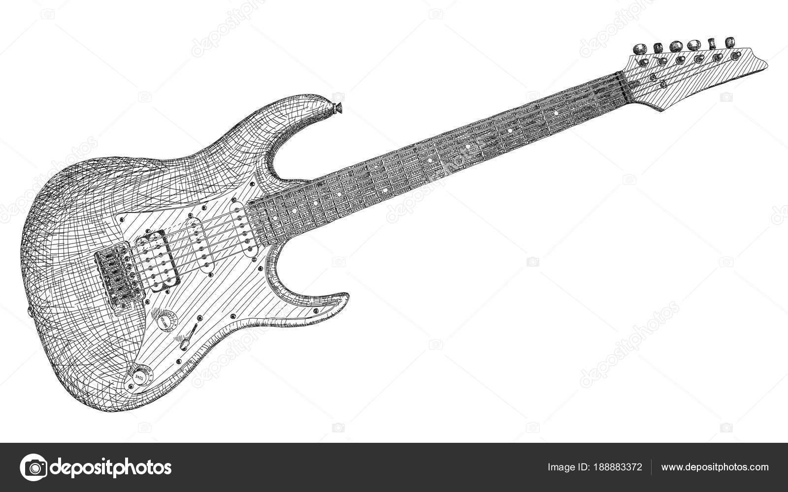 Vektorove Ilustrace Kresba Elektricke Kytary Stock Vektor