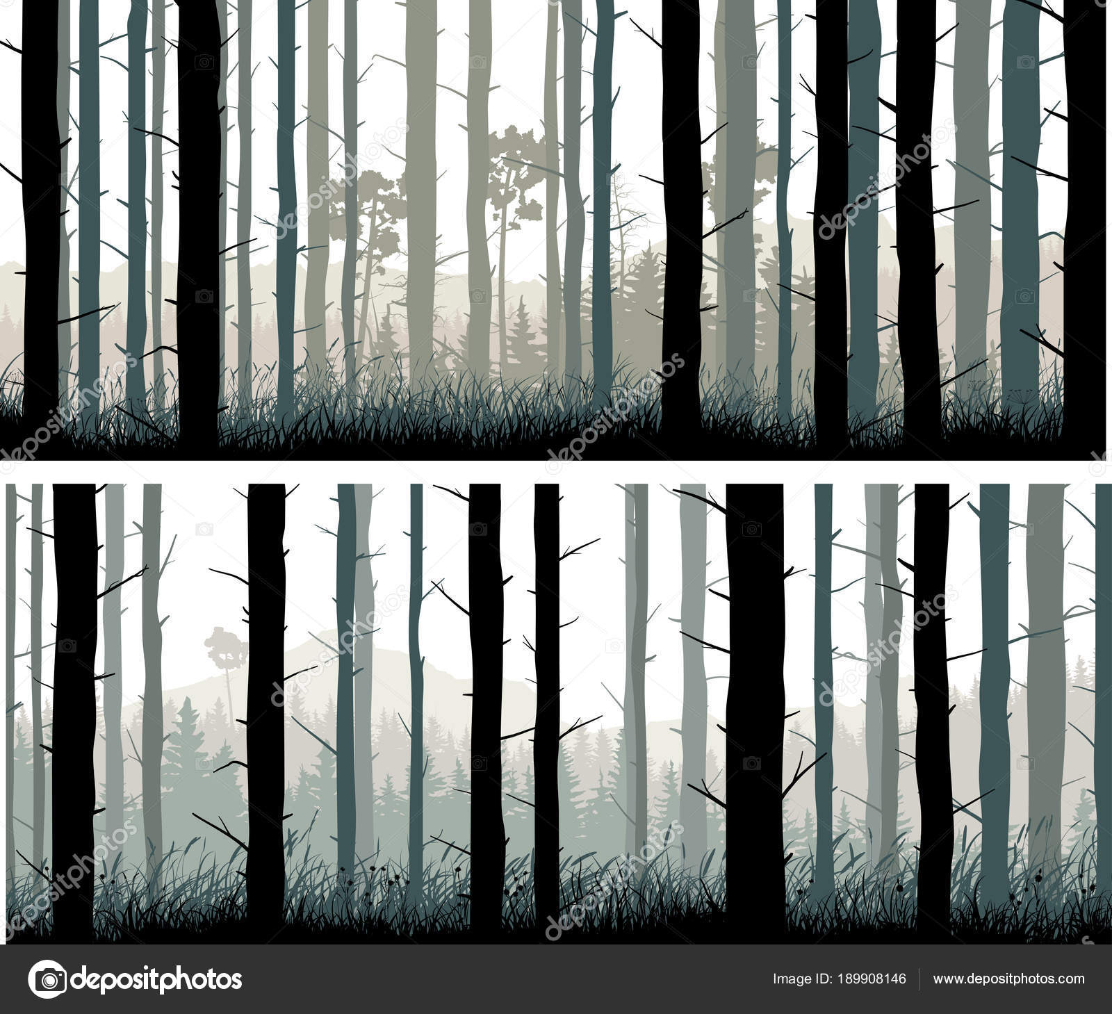 horizontal wide banners pine trunks and gras of coniferous wood