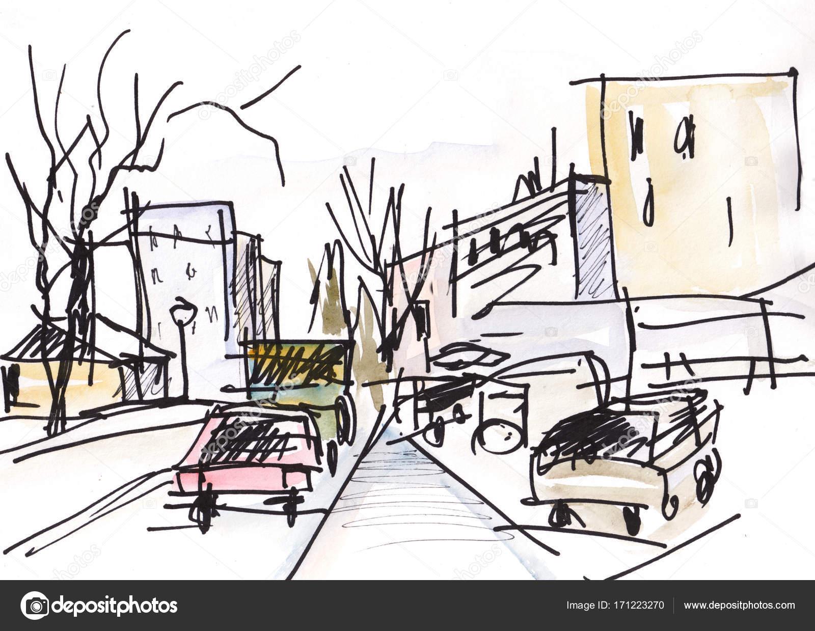 Instant sketch, delay on a traffic light, — Stock Photo © krimzoya ...