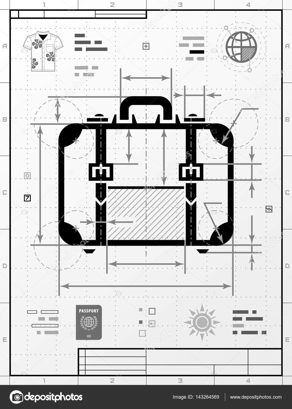 Illustrazione: suitcase technical drawing | Sagoma di