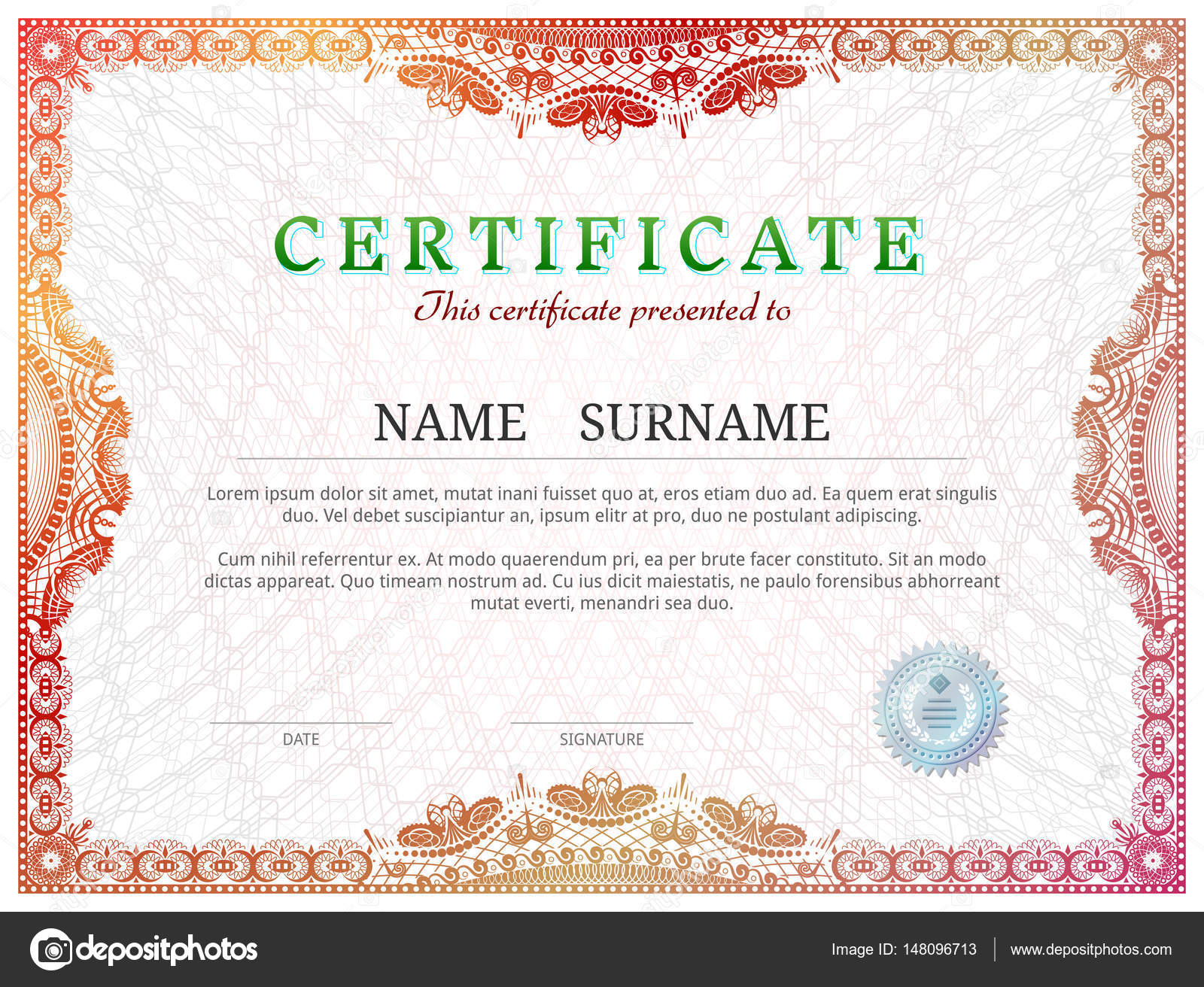 Certificate template with guilloche elements stock vector kulyk certificate template with guilloche elements stock vector yadclub Images
