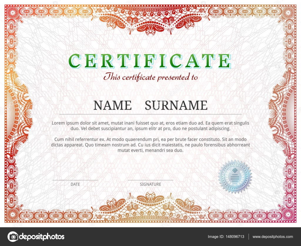 Certificate Template With Guilloche Elements Stock Vector Kulyk - Patent certificate template