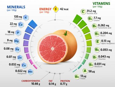 Vitamins and minerals of grapefruit fruit