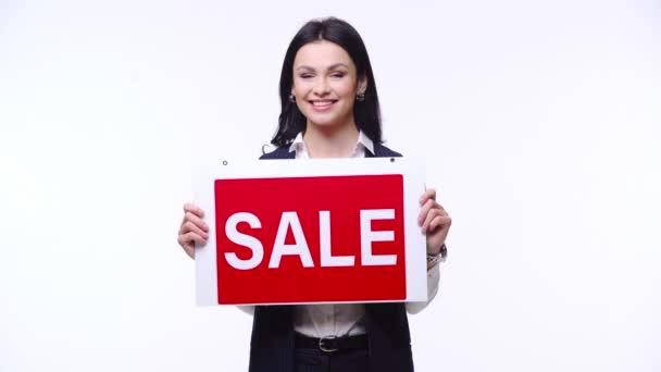 Broker prezentační deska s prodejem písmena izolované na bílém