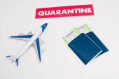 Photo High angle view of toy near card with quarantine lettering and passports with air tickets on white background