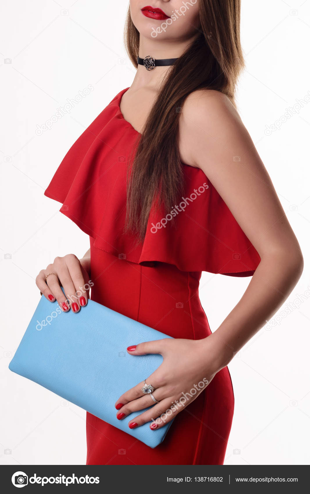 Rotes kleid clutch