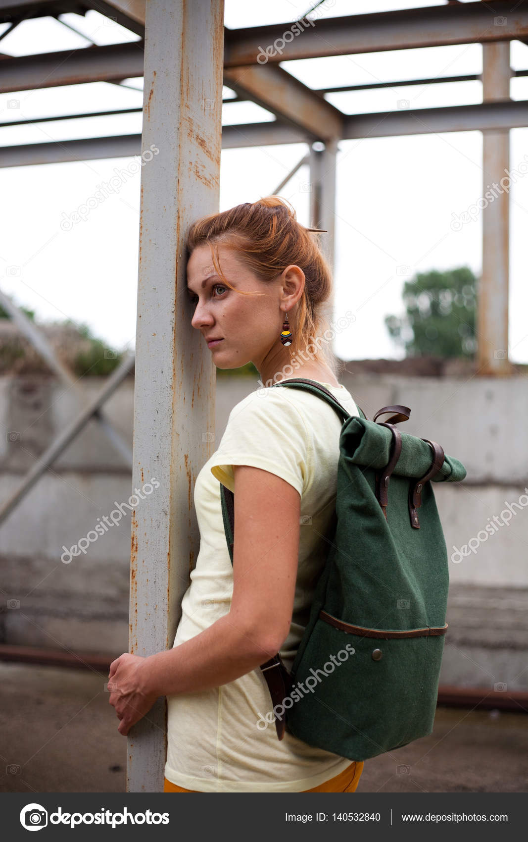 Portrait Of Fashion Model Girl On The Industrial Background Stock Photo