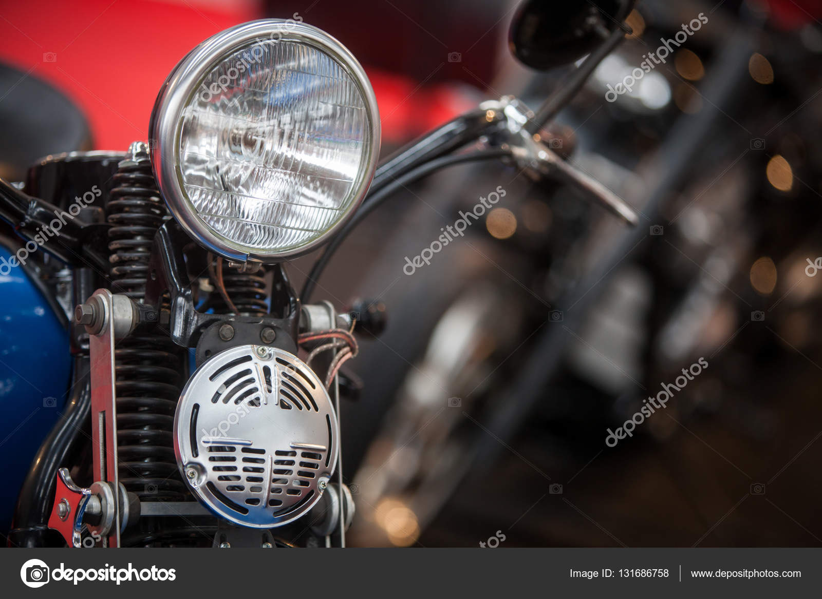Vintage Motorcycle Headlight And Horn Stock Photo C Bizoon 131686758