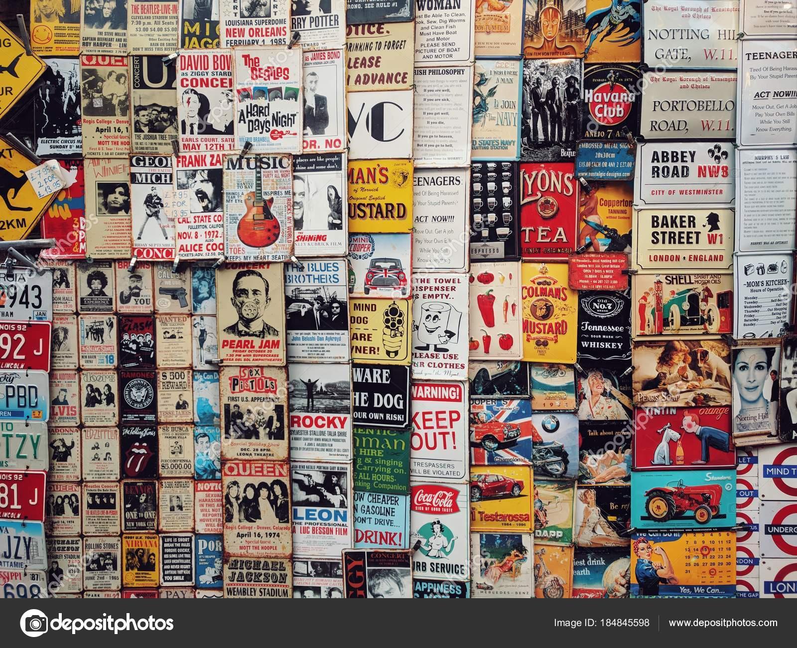 London England January 2018 Color Vintage Tin Adverts Window