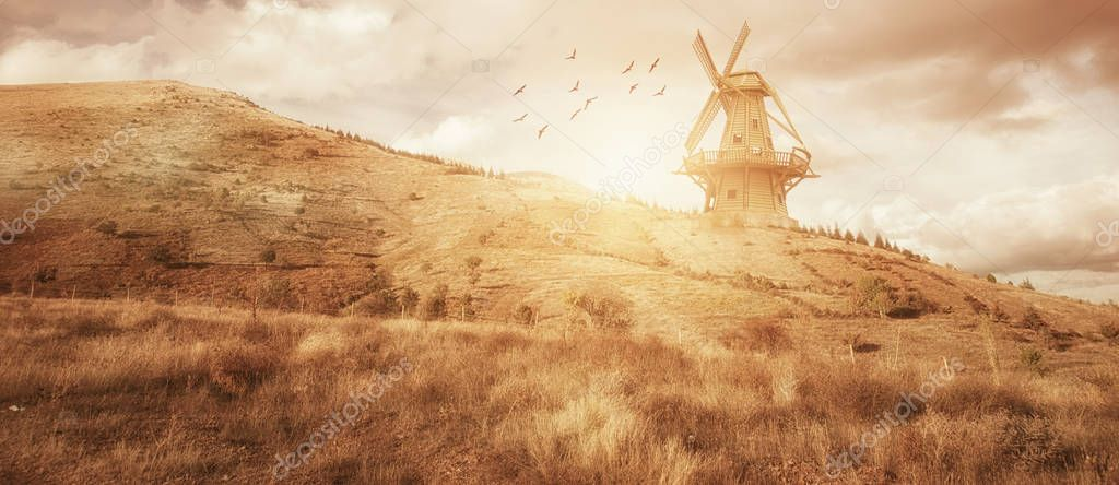 Beautiful panaroma windmill farm landscape. Agriculture concept