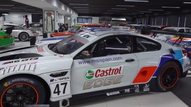 MADRID, SPAIN - December, 2019: Teo Martin museum - car collection at MSI motor and sport institute. Unique exhibition of expensive race vehicles. Building is part of University Francisco de Vitoria